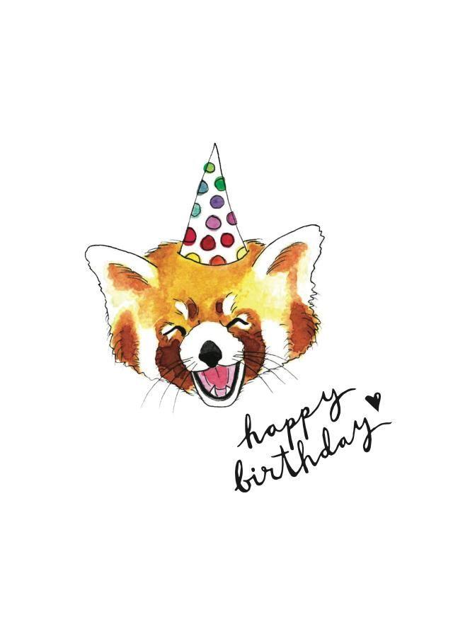 £2.99 | Holly Rutter #Birthday #Stationery #Watercolour #Illustration #Animal