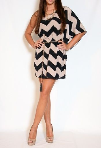 Black and Taupe Chevron Striped Dress | Such a cute party dress. Would love with nude peeps.
