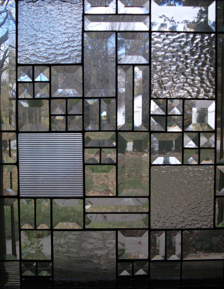 Bevels & Squares, In Clears Stained Glass Panel