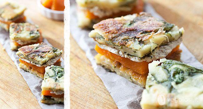 Farinata agli spinaci con zucca e tofu