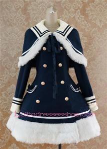 Navy blue Wool Blended Cap Shoulder Long Sleeves Wool Trim  Lolita Coat