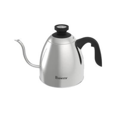 Brew coffee or tea with precision with the Brewista 1.2 L Stove Top Gooseneck Kettle. An analogue temperature gauge is built into the lid and displays the temperature of the water in Fahrenheit and Celsius so you don't have to try to guess.