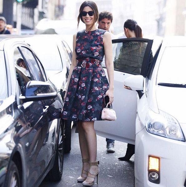 Delightful Camila Coutinho wearing Ermanno Scervino Pre Fall 2015 flower silk & wool ensemble for #ScervinoLive during Milan Fashion Week Regram @camilacoutinho #ErmannoScervino