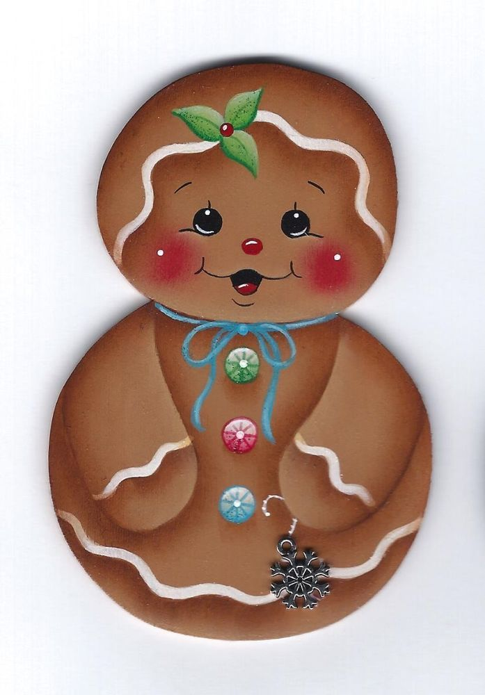 HP GINGERBREAD Roly Poly with Snowflake FRIDGE MAGNET Handpainted by stonehouse28