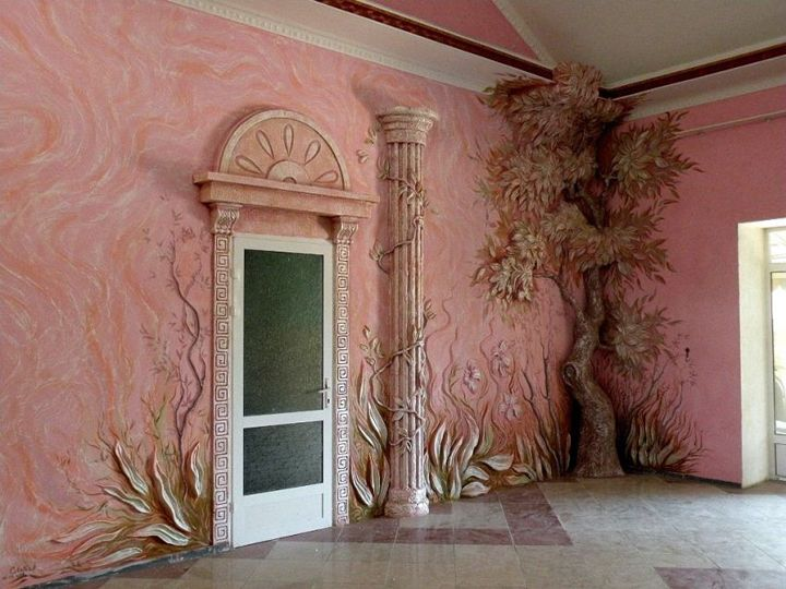 Ah ha - use around base instead of basebords - Stunning art ideas in decorating the walls
