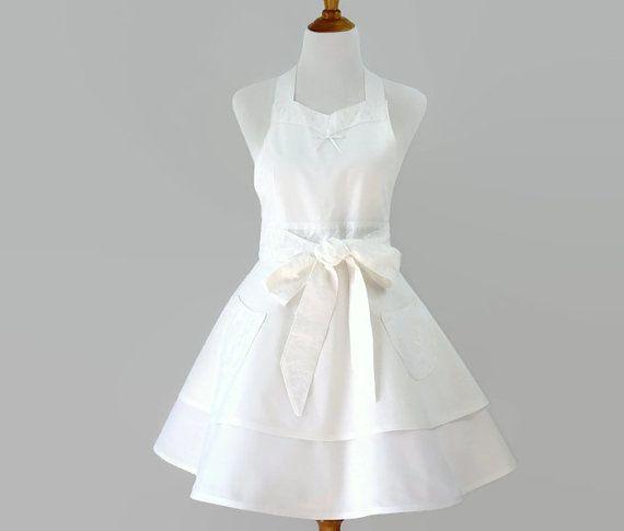 Womens White Retro Apron White Bride Apron by StitchedbyBeverly