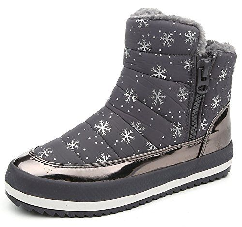 Summerwhisper Womens Warm Snowflake Print Anti Skid Side Zipper Fleece  Lined Platform Flats Sneakers Short Snow Boots Gray 55 BM US * You can get  more ...