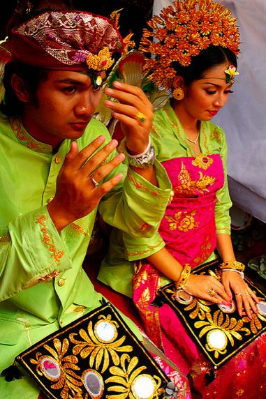 Balinese Wedding - I love bright colors. When I married, I chose red and gold, as Asians do, for joy and celebration, rather than traditional Western pastels.