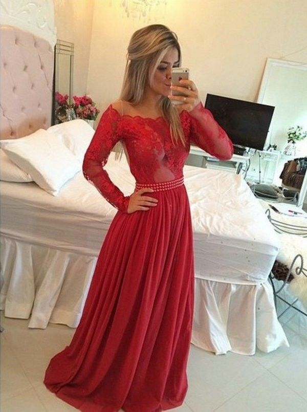 Timeless A-Line Off the Shoulder Floor Length Red Prom/Evening Dress with Long Sleeves - Dresstells.com