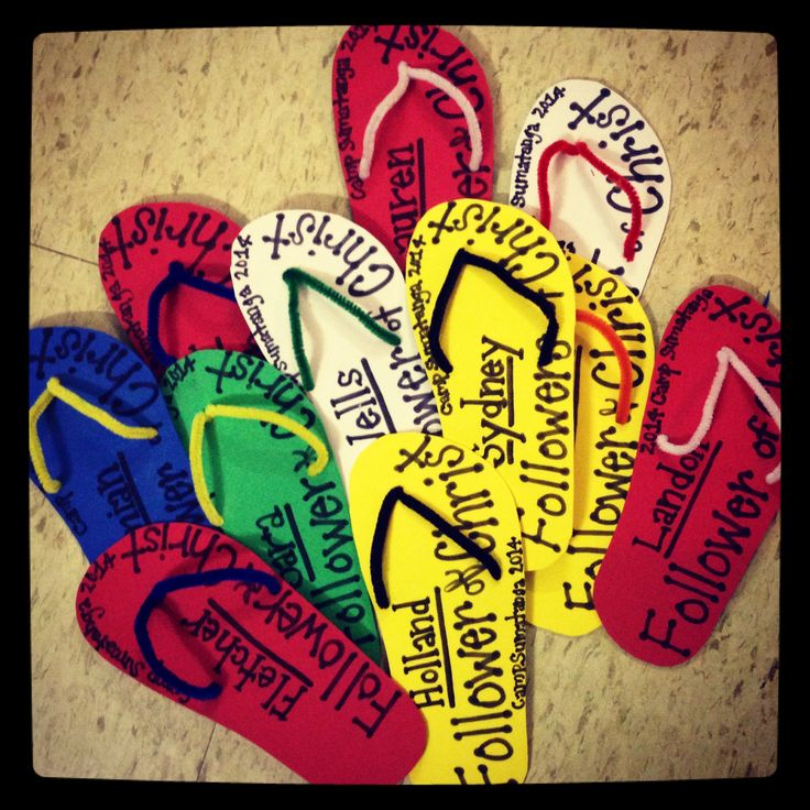 Followers of Christ flip flop-foam and pipe cleaners!