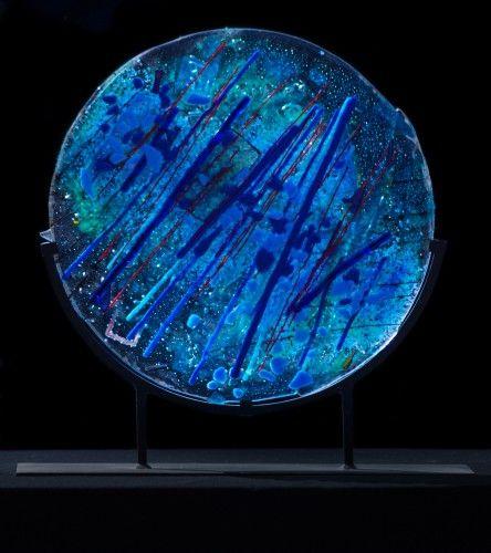 Blue Zen, Suzanne Wallace Mears, kiln formed glass. #glassart #abstractart #summerofcolor