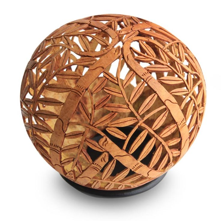 Coconut Shell Sculpture - Towering Bamboo   NOVICA
