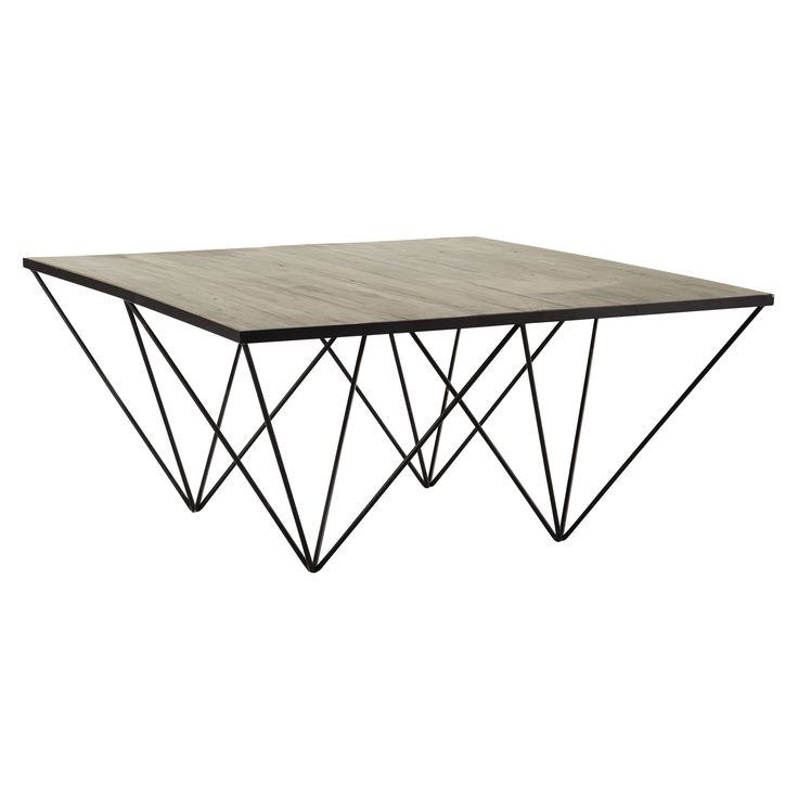Table basse carree bois et fer for Table basse kreabel