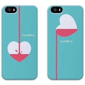 Two pieces Cute Heart Boyfriend and Girlfriend Couples Matching Cell Phone Cases for iphone 5 5S Case Christmas Gift