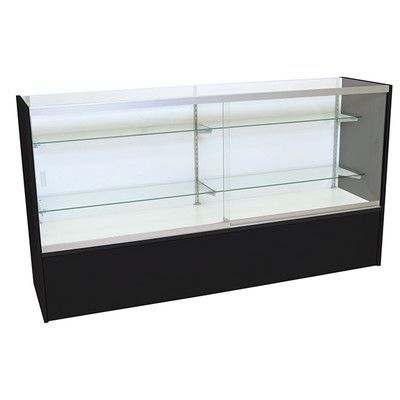 "KC Store Fixtures Front Opening Glass Showcase with LED Light Finish: Black, Size: 38"" H x 70"" W x 18"" D"