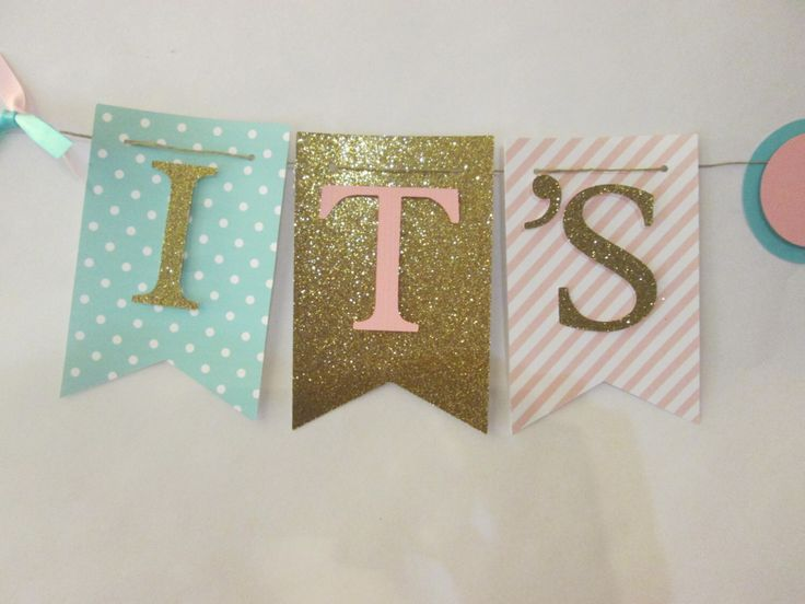 Pink, teal and glitter gold polka dot its a girl banner, baby shower decorations, Welcome baby banner by Cresscreativecrafts on Etsy https://www.etsy.com/listing/248176607/pink-teal-and-glitter-gold-polka-dot-its