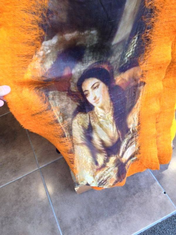 silk scarf 198 cm tall 70 cm width 100% silk fleece ipek keçe fular bursa 05388580316