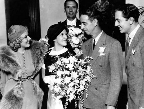 William Powell's 'stand in' getting married. William Powell on the right, the lovely Ms Harlow on the left.