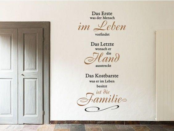 Verzaubern Sie Ihre Wände Mit Dem Wandtattoo Das Erste Im Leben Ist Die  Familie... Und Verzaubern Sie Ihr Zuhause Mit Einem Einzigartigen Flair.