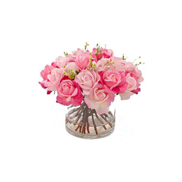 Real Touch Rose Faux Floral Arrangements Centerpieces for Home Decor ❤ liked on Polyvore featuring home, home decor, floral decor, silk flowers, fabric flowers, faux flowers, fake flower bouquets and fake flower arrangement