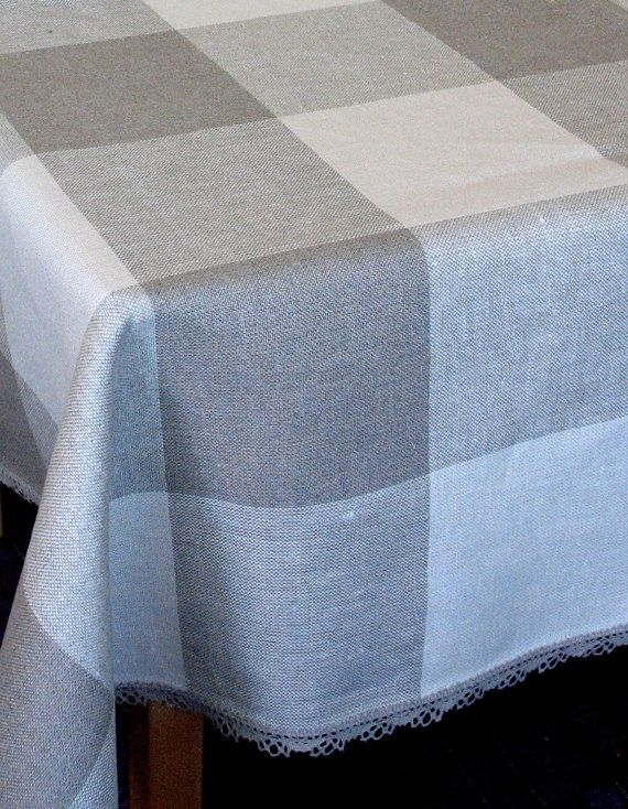 Linen Tablecloth Natural White Gray Linen Lace By Initasworks, $150.00