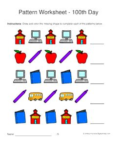 100th Day of School pattern worksheets for kids - 1-2 pattern. Draw and color the missing shape to complete the pattern