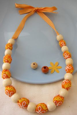 DIY Fabric Bead Necklace - using beads between fabric beads - love it!