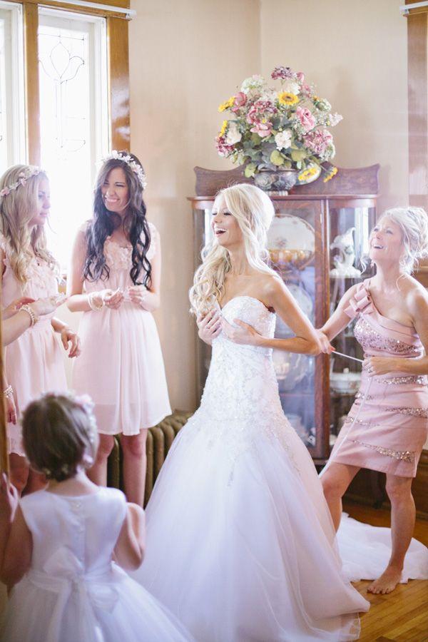 Beautiful wedding hair, make up, dress and bridesmaids dresses, hair and make up.