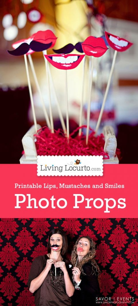 Free Printable Lips and Mustache Photo Props by Amy at LivingLocurto.com