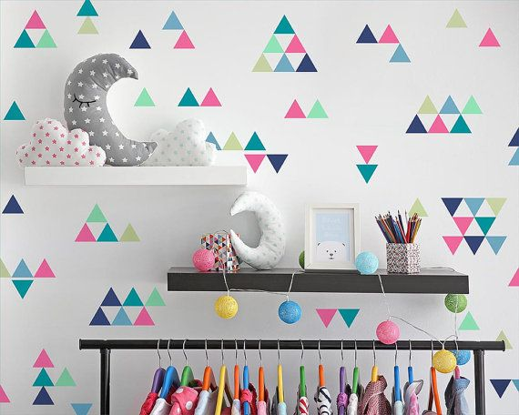 Creative Wall Decor For Nursery : Triangle wall decals colorful vinyl nursery