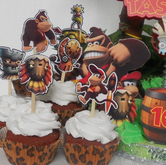 Donkey Kong Country Cupcake Toppers Birthday Party By