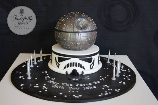 This Marvelous Star Wars Cake is a two-tier cake with the Death Star as the top ball shaped layer and beneath it is a Stormtrooper helmet. Description from betweenthepagesblog.typepad.com. I searched for this on bing.com/images