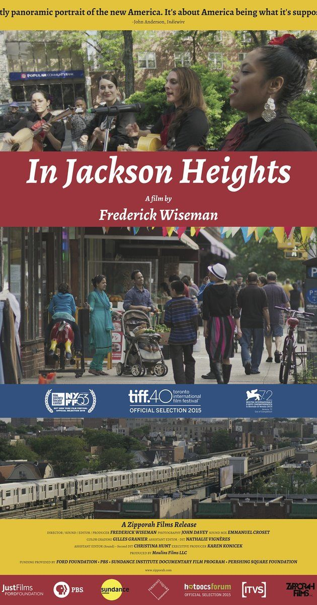 Directed by Frederick Wiseman. Jackson Heights, Queens is one of the most culturally diverse communities in the US where 167 languages are spoken. IN JACKSON HEIGHTS explores the conflict between maintaining ties to old traditions and adapting to American values.
