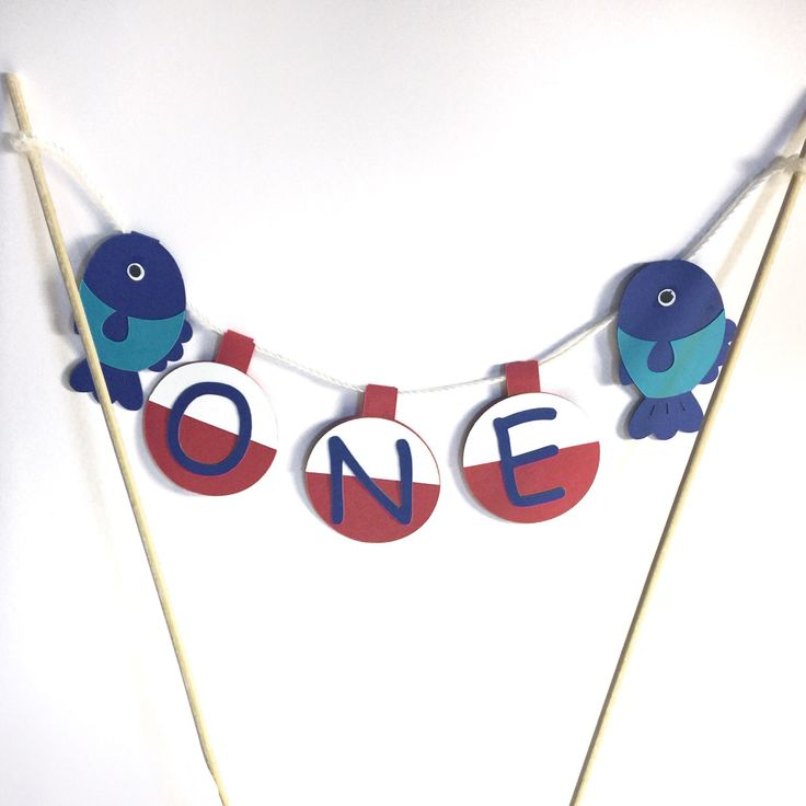 First Birthday Cake Topper - Fish and Bobber, Cake Decor, Smash Cake, One Decoration, Fishing Theme, Big One Party, 1st Birthday Party by MyCutieBows on Etsy