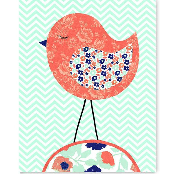 Bird Nursery Art Coral Mint Navy Nursery Decor Girl's Room Decor Bird... ($14) ❤ liked on Polyvore featuring home, children's room, children's decor, black, home & living, home décor, wall décor and wall hangings