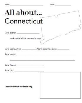 connecticut state fact worksheet elementary version worksheets social studies and students. Black Bedroom Furniture Sets. Home Design Ideas