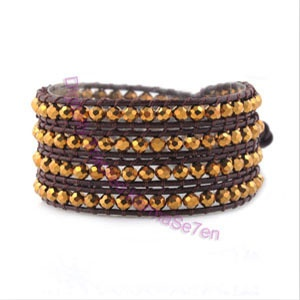 Gold Coloured Leather Wrap Bracelet. Buy yours today at karmase7en.com, this seasons must-have accessory.