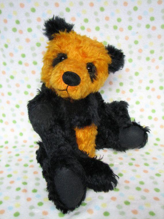 Mohair artist orange and black panda bear By Melanie by Melbears