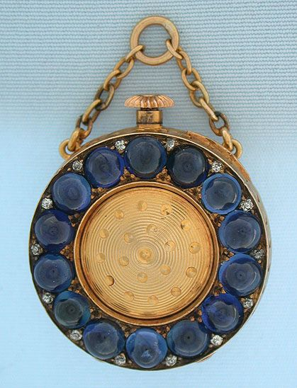 Patek Philippe ca.1896 for Tiffany & Co. - 18k gold, sapphire and diamond ladies watch - movement with wolf's tooth.