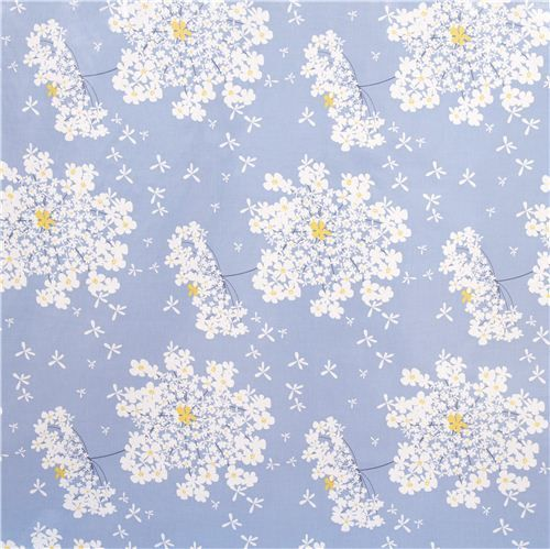 blue premium laminate fabric by Michael Miller white flowers 2