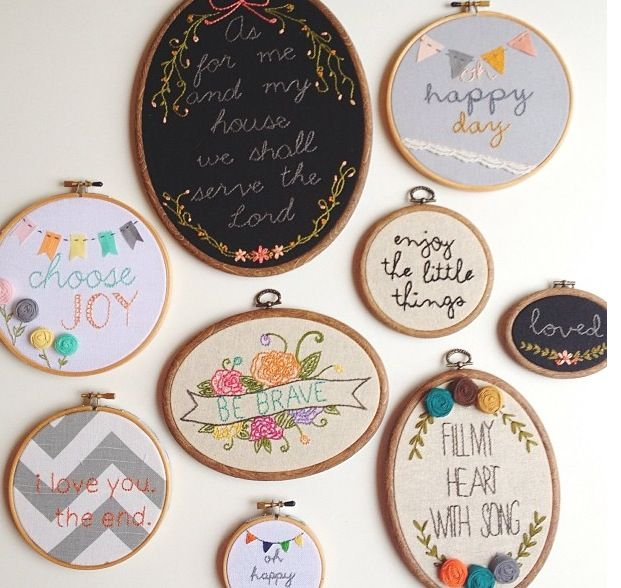 Embroidery hooped phrases                                                                                                                                                                                 Mais
