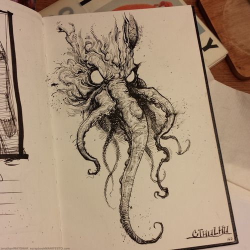 While watching a documentary on H.P. Lovecraft, I felt compelled to make a sketch of our master, Cthulhu.