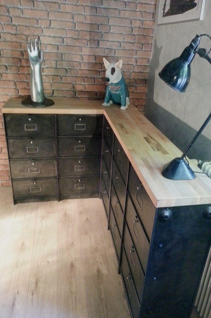 mobilier industriel meubles clapet d 39 angle fabrication sur mesure sur. Black Bedroom Furniture Sets. Home Design Ideas