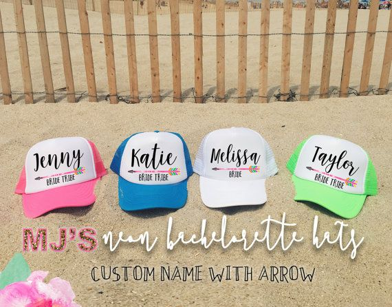 NEON Bachelorette Party Hat / Custom Name with by MJsBridalSupport