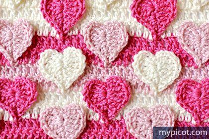 Beautiful Hearts Multicolored Crochet Stitch Pattern from MyPicot.com. #freepattern