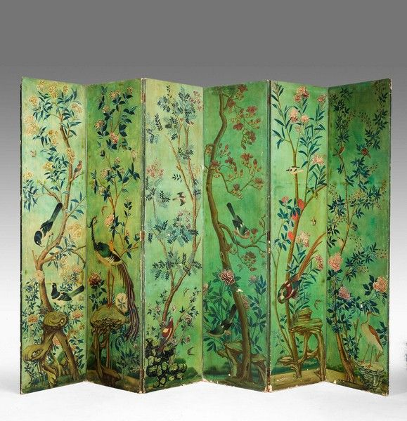 OnlineGalleries.com - Mid 19th Century Six Fold Screen                                                                                                                                                     More