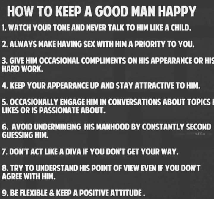 How to keep your man happy And how he can keep YOU happy