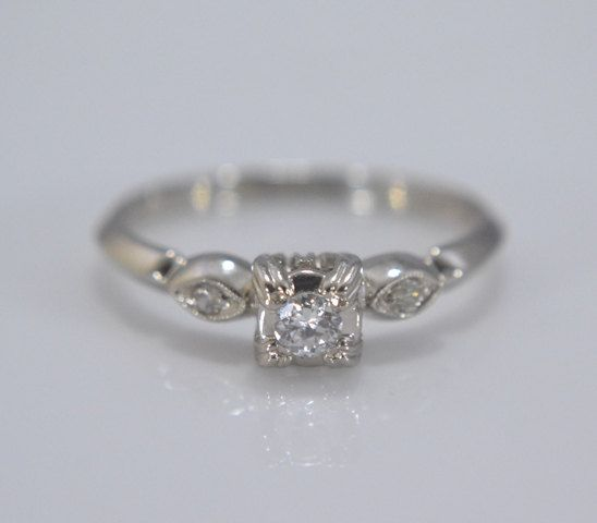 Vintage 14K White Gold Diamond Promise Ring or Petite by Ringtique, $375.00