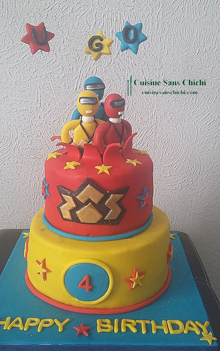Gâteau Thème Power Rangers pour un anniversaire