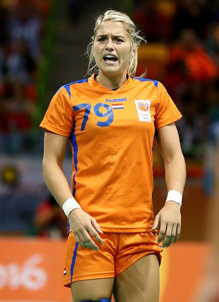 Estavana Polman of Netherlands reacts to a call in the first half against Argentina on Day 3 of the Rio 2016 Olympic Games at the…